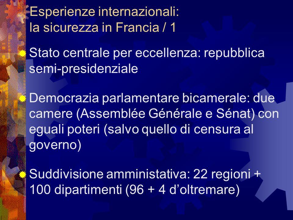 Esperienze internazionali: la sicurezza in Francia / 1  Stato centrale per eccellenza: repubblica semi-presidenziale  Democrazia parlamentare bicame