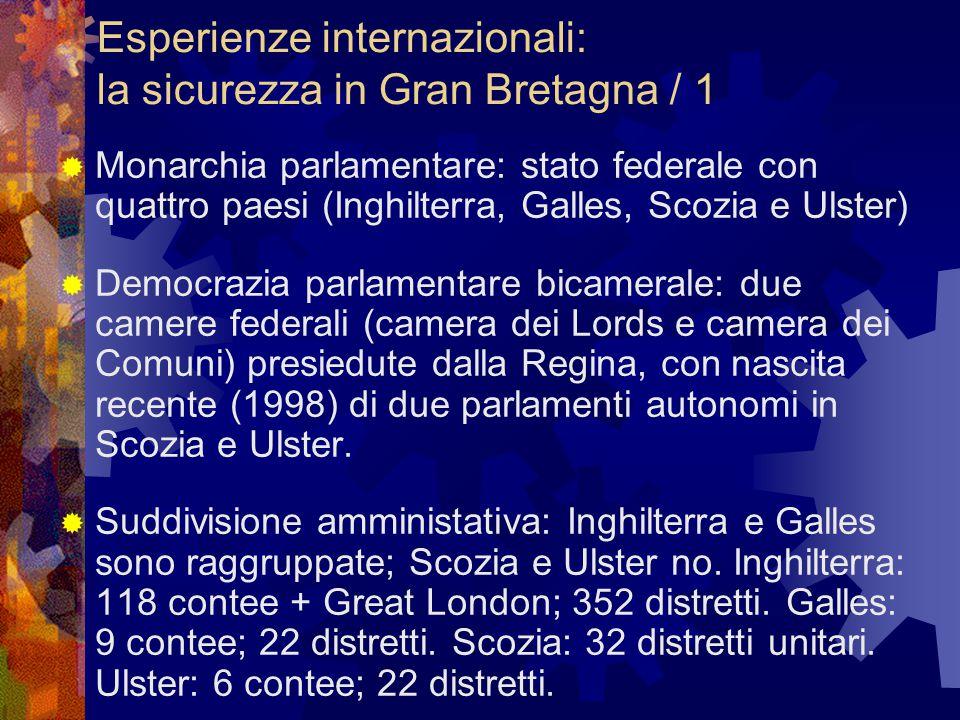 Esperienze internazionali: la sicurezza in Gran Bretagna / 1  Monarchia parlamentare: stato federale con quattro paesi (Inghilterra, Galles, Scozia e