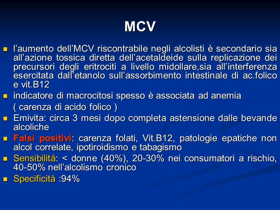 MCV l'aumento dell'MCV riscontrabile negli alcolisti è secondario sia all'azione tossica diretta dell'acetaldeide sulla replicazione dei precursori de