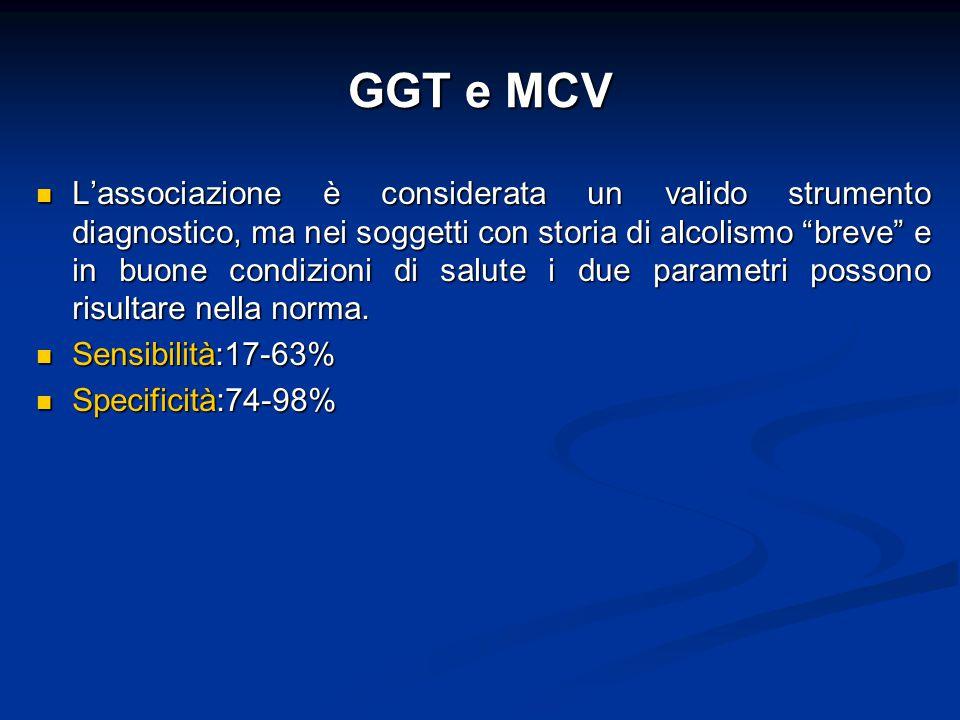 """GGT e MCV L'associazione è considerata un valido strumento diagnostico, ma nei soggetti con storia di alcolismo """"breve"""" e in buone condizioni di salut"""