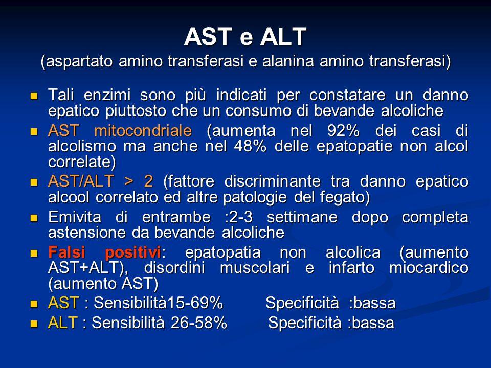 AST e ALT (aspartato amino transferasi e alanina amino transferasi) Tali enzimi sono più indicati per constatare un danno epatico piuttosto che un con