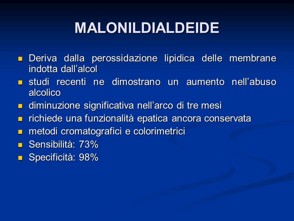 MALONILDIALDEIDE Deriva dalla perossidazione lipidica delle membrane indotta dall'alcol Deriva dalla perossidazione lipidica delle membrane indotta da