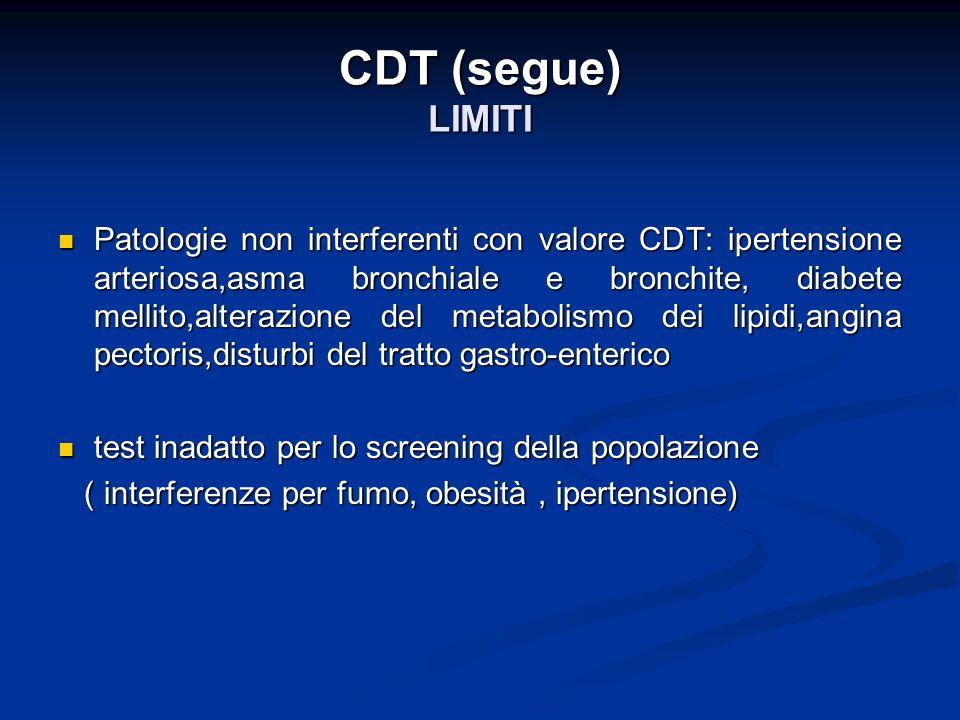 CDT (segue) LIMITI Patologie non interferenti con valore CDT: ipertensione arteriosa,asma bronchiale e bronchite, diabete mellito,alterazione del meta