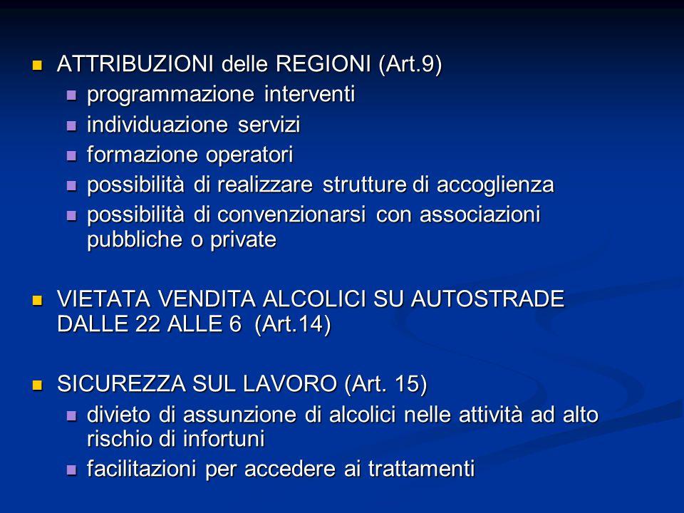 ATTRIBUZIONI delle REGIONI (Art.9) ATTRIBUZIONI delle REGIONI (Art.9) programmazione interventi programmazione interventi individuazione servizi indiv