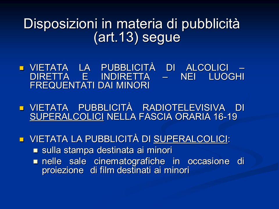 Disposizioni in materia di pubblicità (art.13) segue VIETATA LA PUBBLICITÀ DI ALCOLICI – DIRETTA E INDIRETTA – NEI LUOGHI FREQUENTATI DAI MINORI VIETA