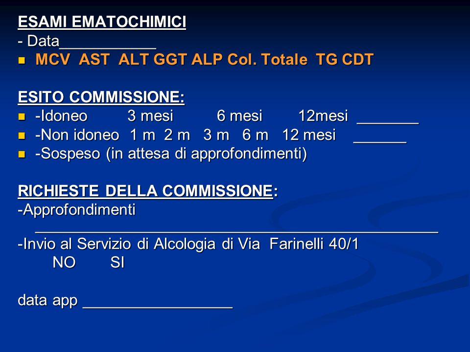 ESAMI EMATOCHIMICI - Data___________ MCV AST ALT GGT ALP Col. Totale TG CDT MCV AST ALT GGT ALP Col. Totale TG CDT ESITO COMMISSIONE: -Idoneo 3 mesi 6