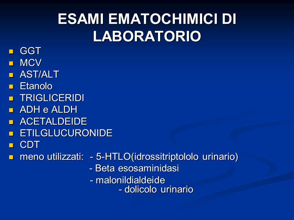 ESAMI EMATOCHIMICI DI LABORATORIO GGT GGT MCV MCV AST/ALT AST/ALT Etanolo Etanolo TRIGLICERIDI TRIGLICERIDI ADH e ALDH ADH e ALDH ACETALDEIDE ACETALDE
