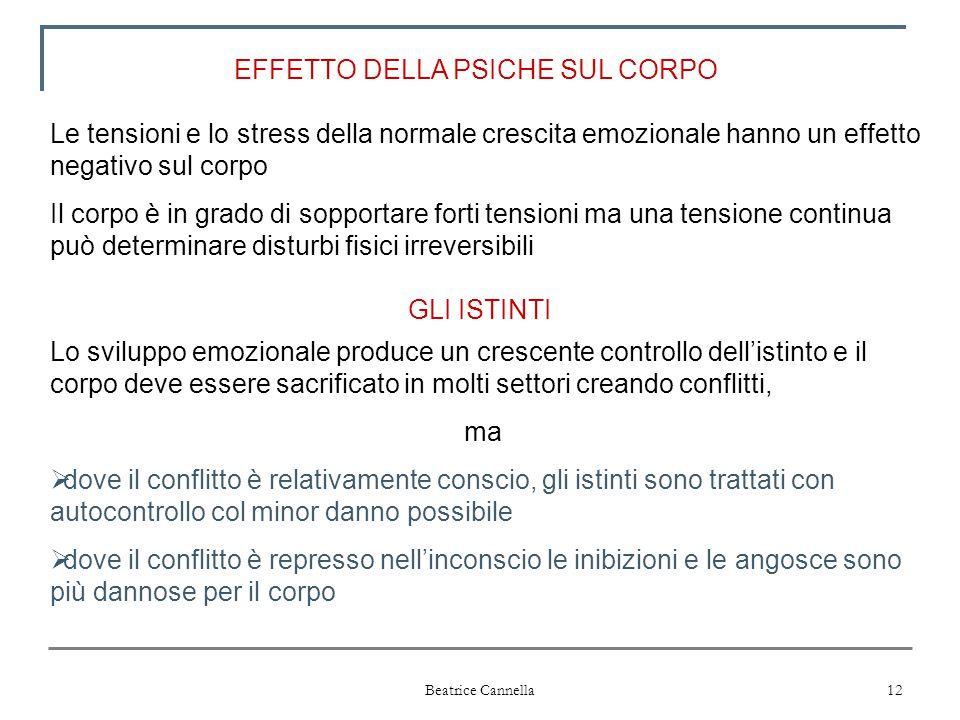 Beatrice Cannella 12 EFFETTO DELLA PSICHE SUL CORPO Le tensioni e lo stress della normale crescita emozionale hanno un effetto negativo sul corpo Il c