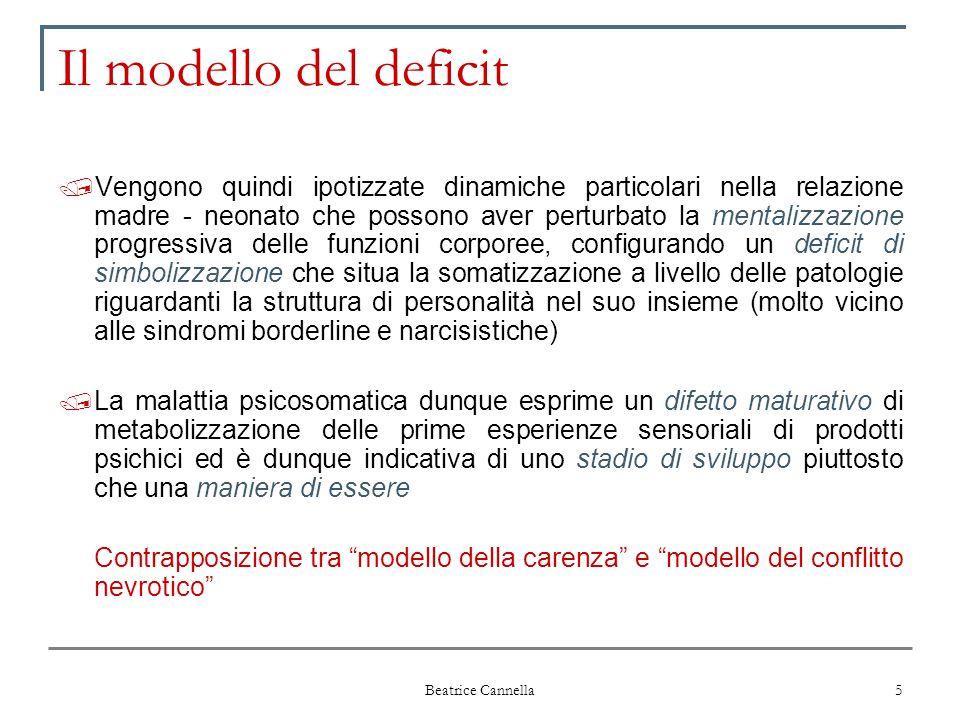 Beatrice Cannella 5 Il modello del deficit / Vengono quindi ipotizzate dinamiche particolari nella relazione madre - neonato che possono aver perturba