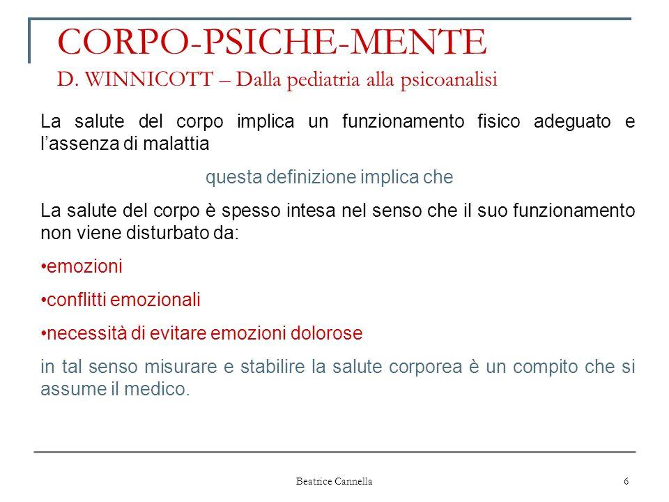 Beatrice Cannella 6 CORPO-PSICHE-MENTE D. WINNICOTT – Dalla pediatria alla psicoanalisi La salute del corpo implica un funzionamento fisico adeguato e