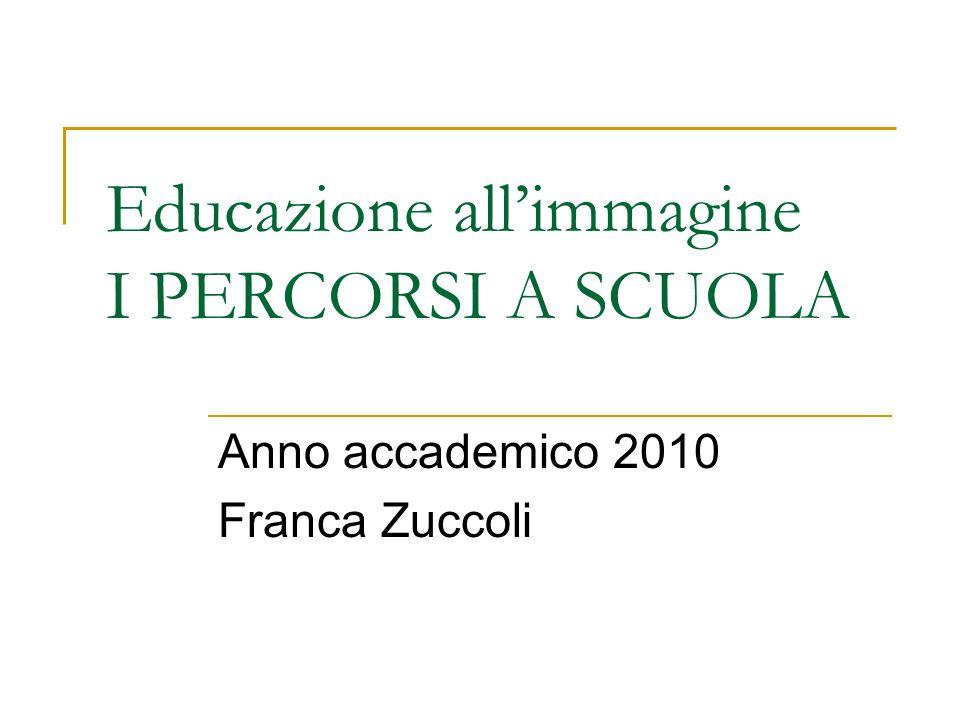 Educazione all'immagine I PERCORSI A SCUOLA Anno accademico 2010 Franca Zuccoli