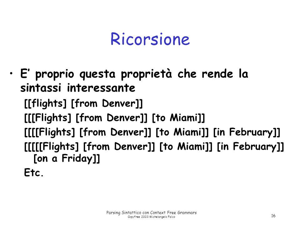 Parsing Sintattico con Context Free Grammars Copyfree 2003 Michelangelo Falco 16 Ricorsione E' proprio questa proprietà che rende la sintassi interessante [[flights] [from Denver]] [[[Flights] [from Denver]] [to Miami]] [[[[Flights] [from Denver]] [to Miami]] [in February]] [[[[[Flights] [from Denver]] [to Miami]] [in February]] [on a Friday]] Etc.