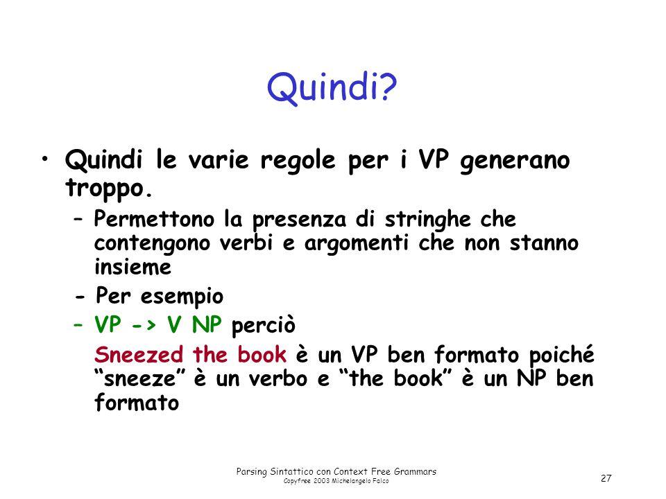 Parsing Sintattico con Context Free Grammars Copyfree 2003 Michelangelo Falco 27 Quindi? Quindi le varie regole per i VP generano troppo. –Permettono