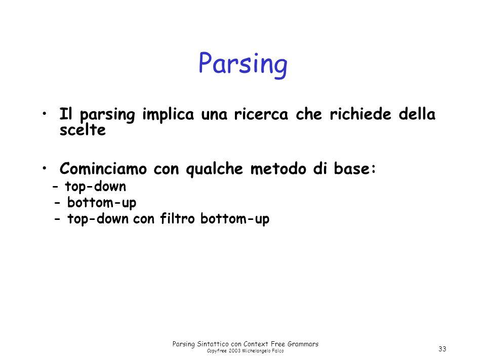 Parsing Sintattico con Context Free Grammars Copyfree 2003 Michelangelo Falco 33 Parsing Il parsing implica una ricerca che richiede della scelte Cominciamo con qualche metodo di base: - top-down - bottom-up - top-down con filtro bottom-up