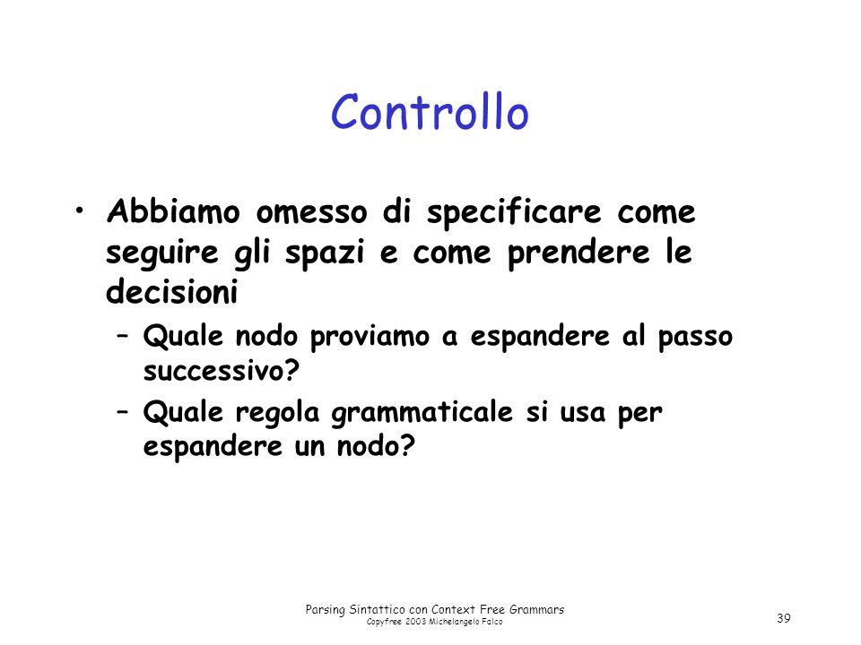 Parsing Sintattico con Context Free Grammars Copyfree 2003 Michelangelo Falco 39 Controllo Abbiamo omesso di specificare come seguire gli spazi e come prendere le decisioni –Quale nodo proviamo a espandere al passo successivo.