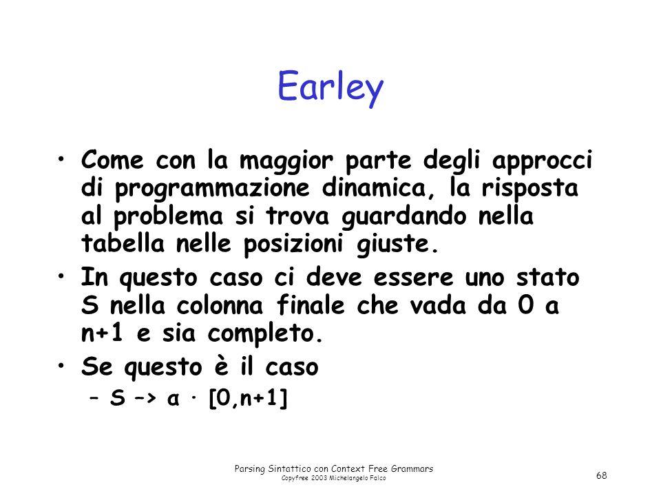 Parsing Sintattico con Context Free Grammars Copyfree 2003 Michelangelo Falco 68 Earley Come con la maggior parte degli approcci di programmazione dinamica, la risposta al problema si trova guardando nella tabella nelle posizioni giuste.