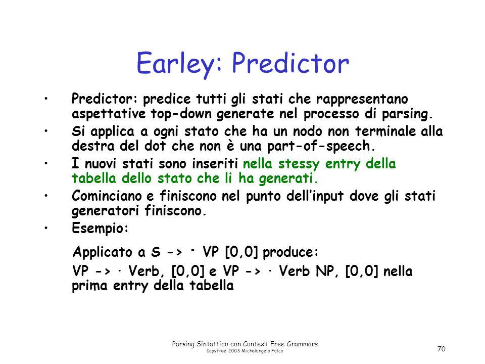 Parsing Sintattico con Context Free Grammars Copyfree 2003 Michelangelo Falco 70 Earley: Predictor Predictor: predice tutti gli stati che rappresentano aspettative top-down generate nel processo di parsing.