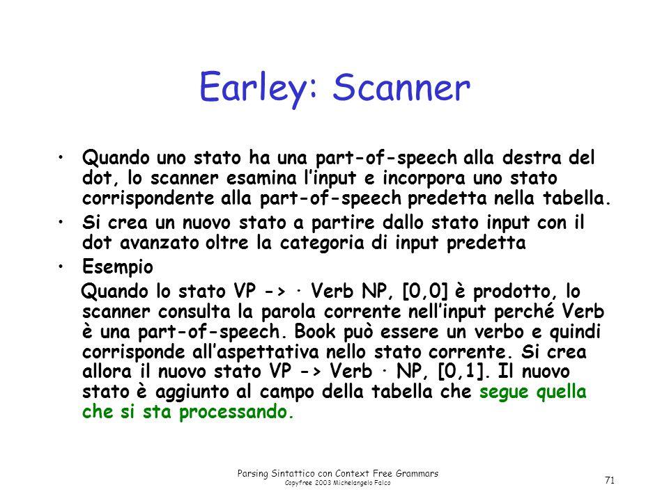 Parsing Sintattico con Context Free Grammars Copyfree 2003 Michelangelo Falco 71 Earley: Scanner Quando uno stato ha una part-of-speech alla destra del dot, lo scanner esamina l'input e incorpora uno stato corrispondente alla part-of-speech predetta nella tabella.