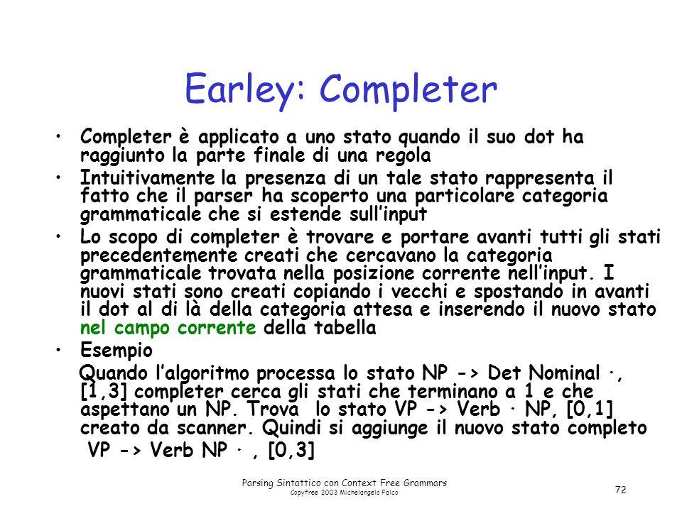 Parsing Sintattico con Context Free Grammars Copyfree 2003 Michelangelo Falco 72 Earley: Completer Completer è applicato a uno stato quando il suo dot