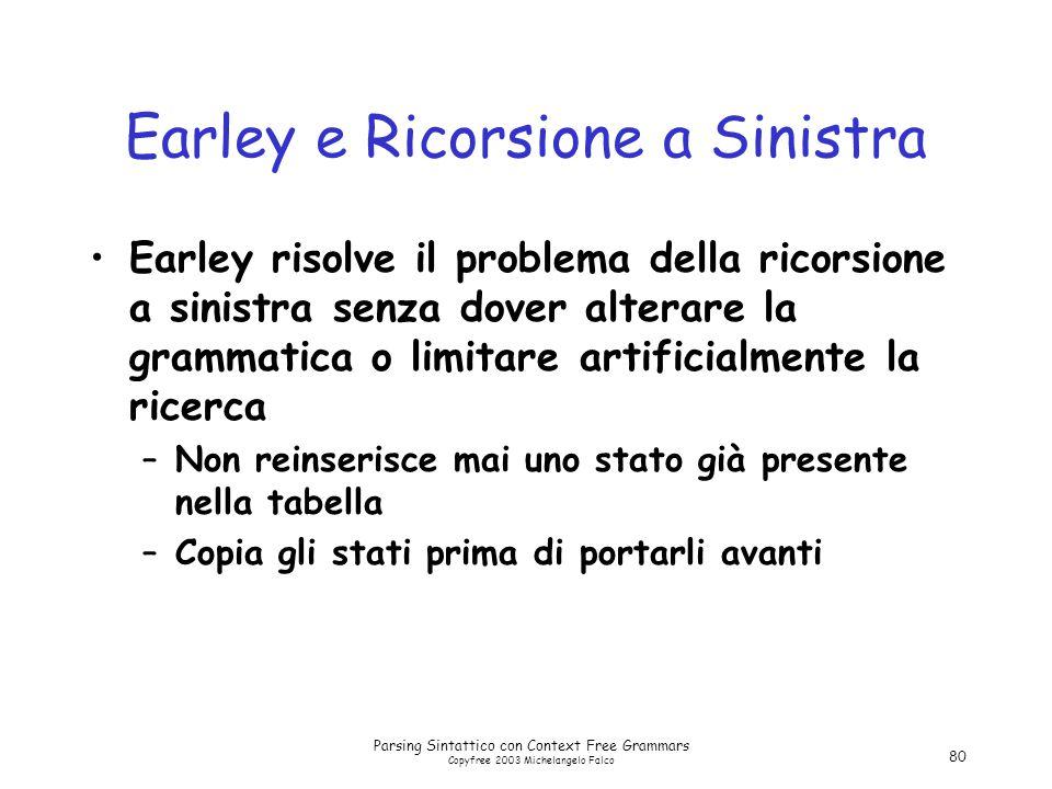 Parsing Sintattico con Context Free Grammars Copyfree 2003 Michelangelo Falco 80 Earley e Ricorsione a Sinistra Earley risolve il problema della ricor