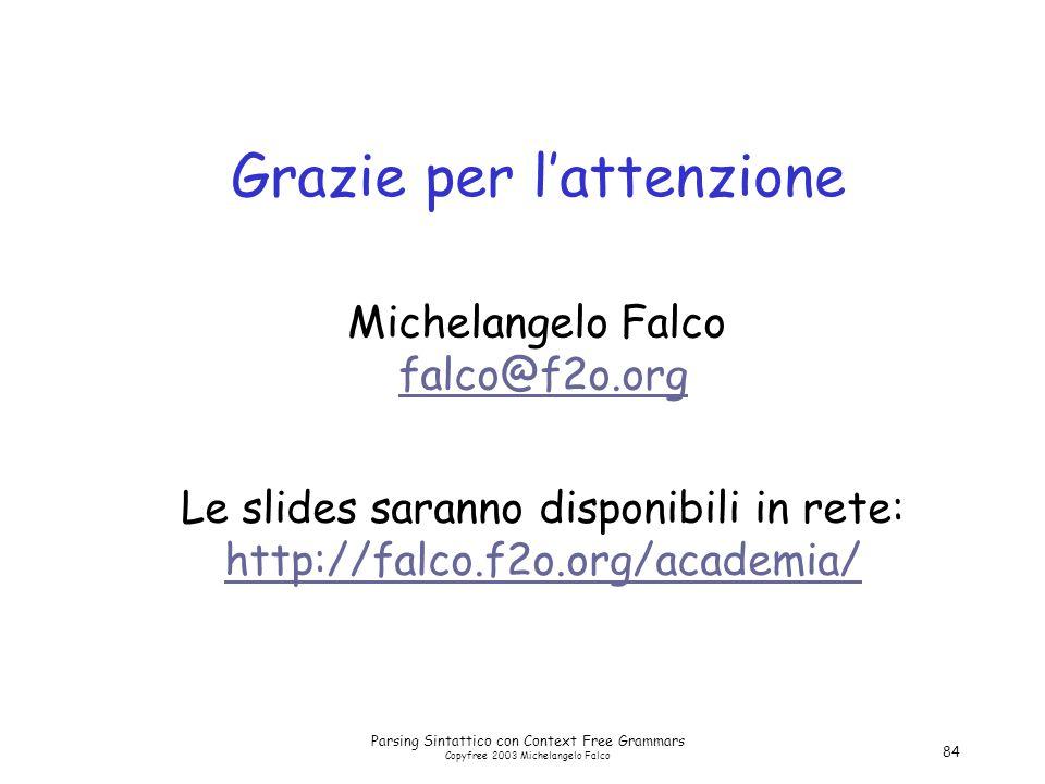Parsing Sintattico con Context Free Grammars Copyfree 2003 Michelangelo Falco 84 Grazie per l'attenzione Le slides saranno disponibili in rete: http://falco.f2o.org/academia/ http://falco.f2o.org/academia/ Michelangelo Falco falco@f2o.org