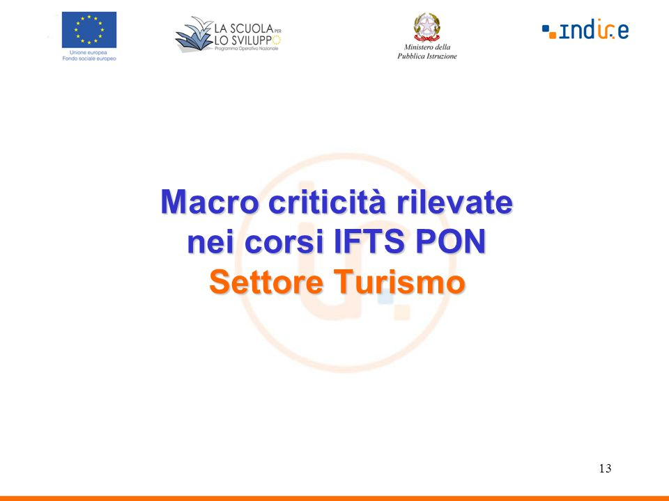 13 Macro criticità rilevate nei corsi IFTS PON Settore Turismo