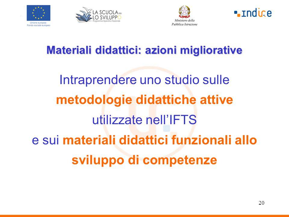 20 Materiali didattici: azioni migliorative Intraprendere uno studio sulle metodologie didattiche attive utilizzate nell'IFTS e sui materiali didattici funzionali allo sviluppo di competenze