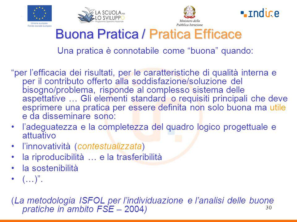 """30 Buona Pratica / Pratica Efficace Una pratica è connotabile come """"buona"""" quando: """"per l'efficacia dei risultati, per le caratteristiche di qualità i"""