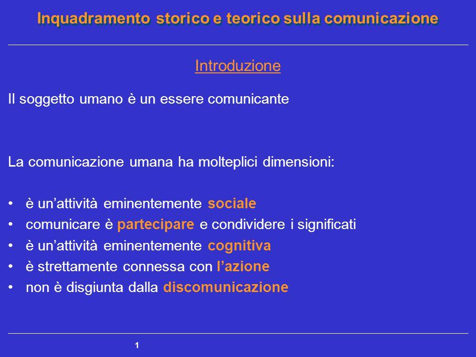 Inquadramento storico e teorico sulla comunicazione 1 Introduzione Il soggetto umano è un essere comunicante La comunicazione umana ha molteplici dime