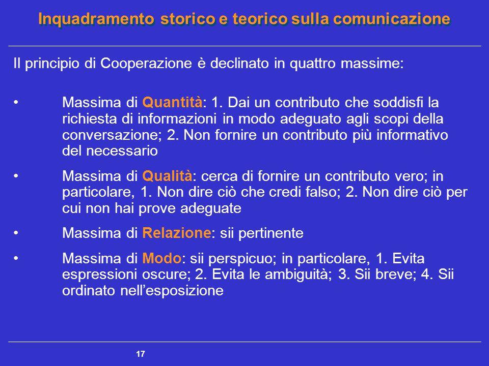 Inquadramento storico e teorico sulla comunicazione 17 Il principio di Cooperazione è declinato in quattro massime: Massima di Quantità: 1. Dai un con
