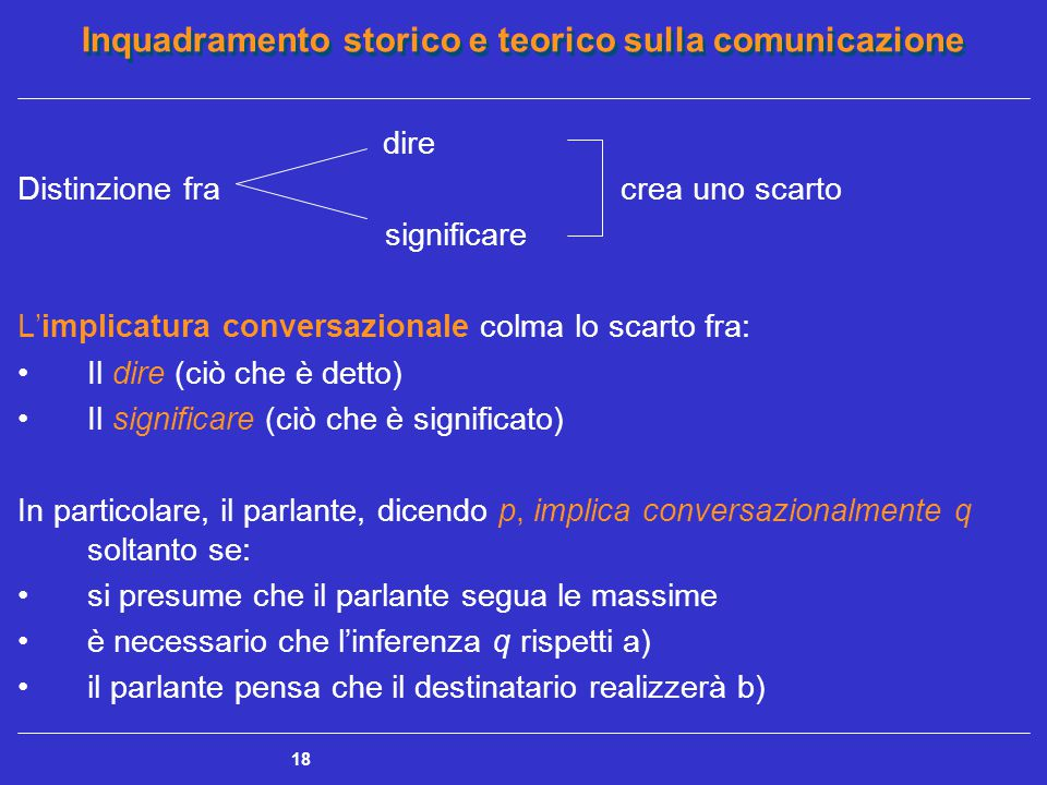 Inquadramento storico e teorico sulla comunicazione 18 dire Distinzione fra crea uno scarto significare L'implicatura conversazionale colma lo scarto