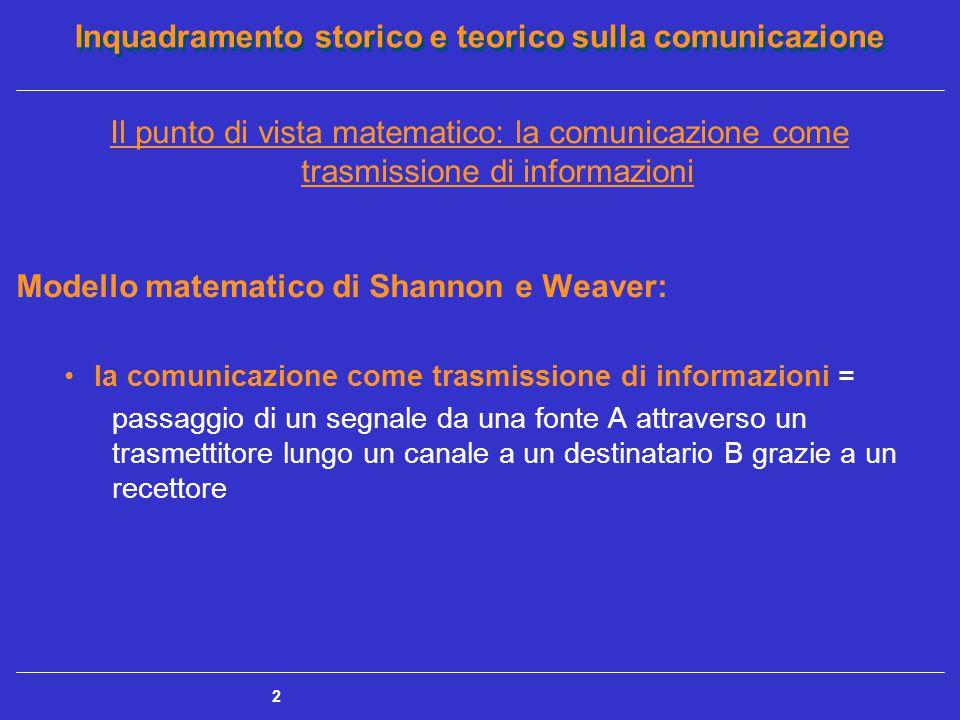 Inquadramento storico e teorico sulla comunicazione 2 Il punto di vista matematico: la comunicazione come trasmissione di informazioni Modello matemat