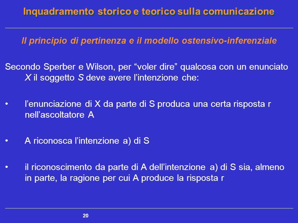"""Inquadramento storico e teorico sulla comunicazione 20 Il principio di pertinenza e il modello ostensivo-inferenziale Secondo Sperber e Wilson, per """"v"""