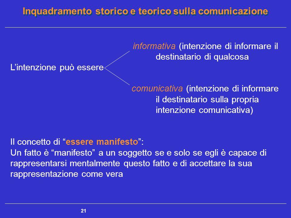 Inquadramento storico e teorico sulla comunicazione 21 informativa (intenzione di informare il destinatario di qualcosa L'intenzione può essere comuni