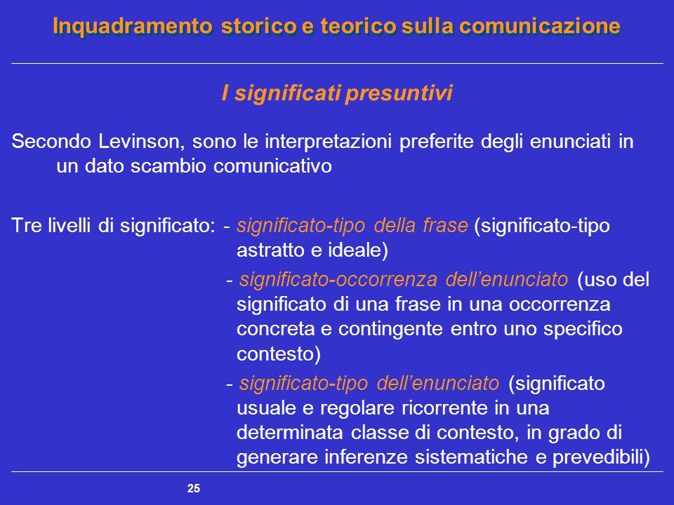 Inquadramento storico e teorico sulla comunicazione 25 I significati presuntivi Secondo Levinson, sono le interpretazioni preferite degli enunciati in