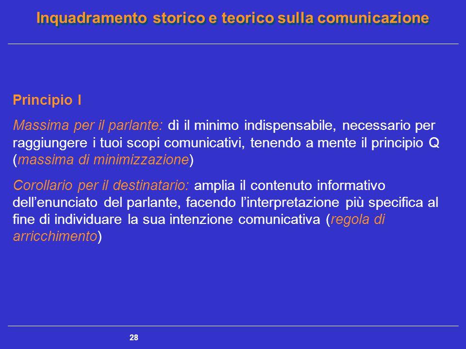 Inquadramento storico e teorico sulla comunicazione 28 Principio I Massima per il parlante: dì il minimo indispensabile, necessario per raggiungere i