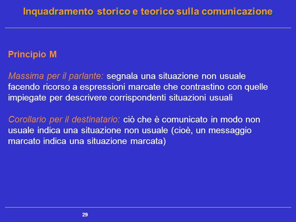 Inquadramento storico e teorico sulla comunicazione 29 Principio M Massima per il parlante: segnala una situazione non usuale facendo ricorso a espres