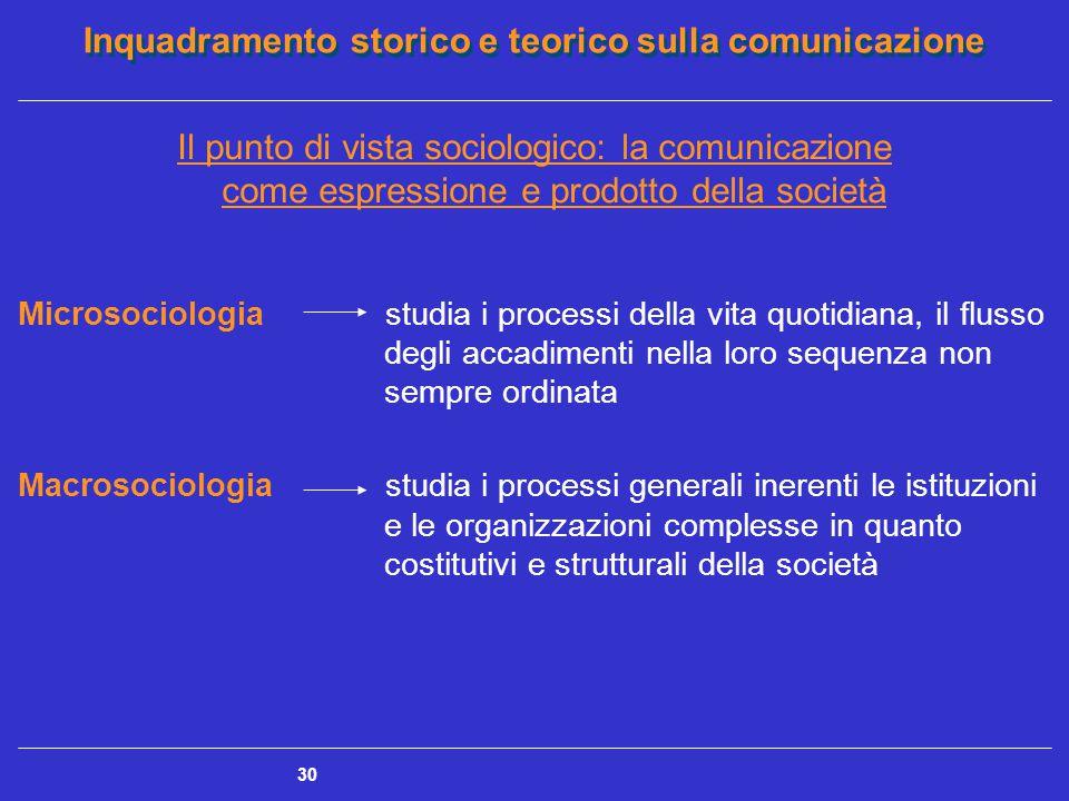 Inquadramento storico e teorico sulla comunicazione 30 Il punto di vista sociologico: la comunicazione come espressione e prodotto della società Micro