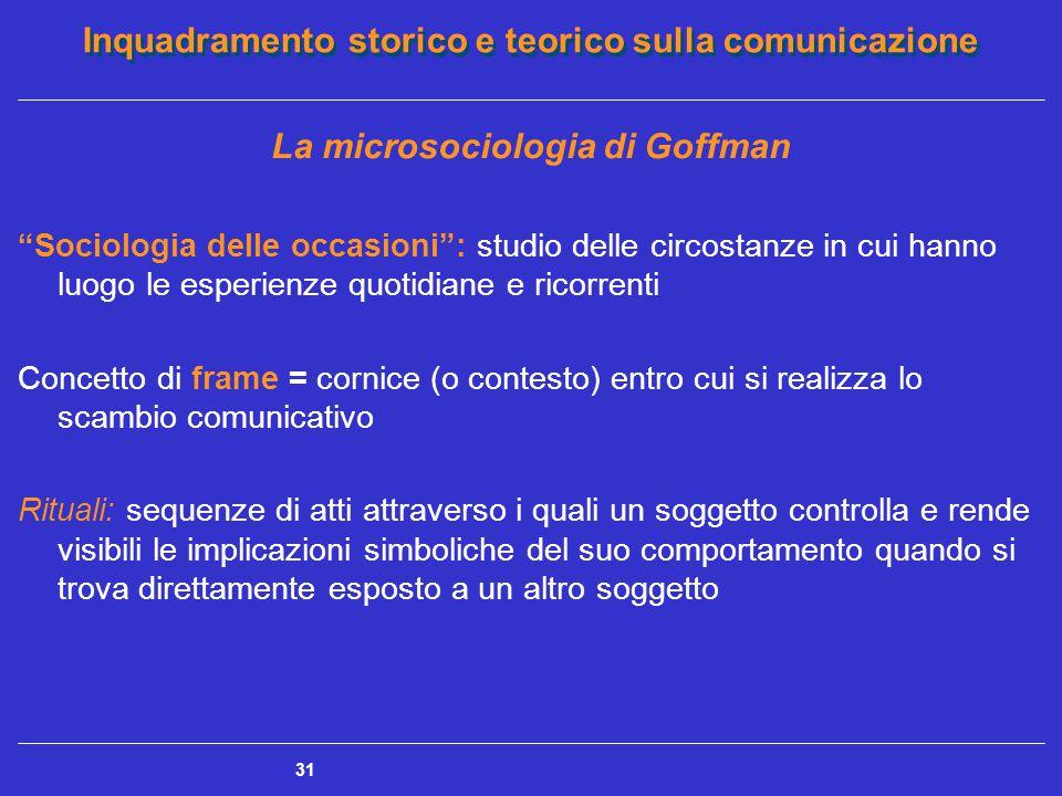 """Inquadramento storico e teorico sulla comunicazione 31 La microsociologia di Goffman """"Sociologia delle occasioni"""": studio delle circostanze in cui han"""
