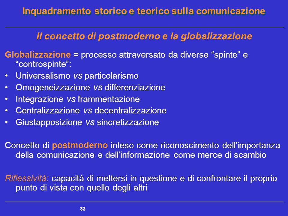 Inquadramento storico e teorico sulla comunicazione 33 Il concetto di postmoderno e la globalizzazione Globalizzazione = processo attraversato da dive