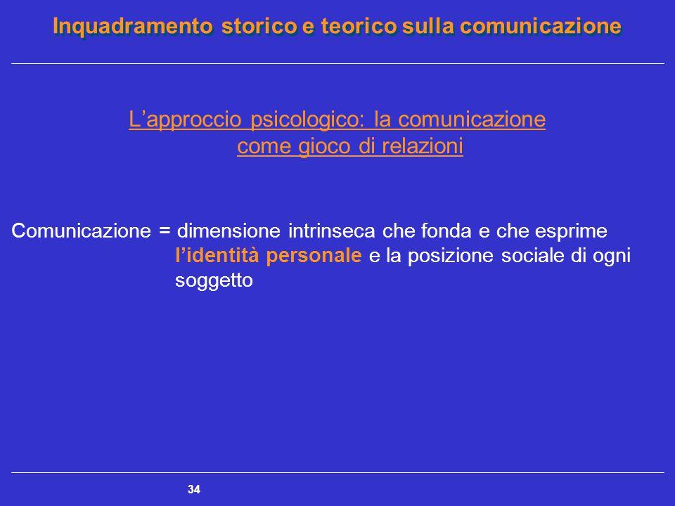 Inquadramento storico e teorico sulla comunicazione 34 L'approccio psicologico: la comunicazione come gioco di relazioni Comunicazione = dimensione in