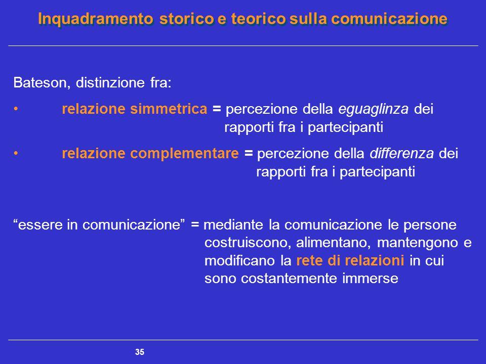 Inquadramento storico e teorico sulla comunicazione 35 Bateson, distinzione fra: relazione simmetrica = percezione della eguaglinza dei rapporti fra i