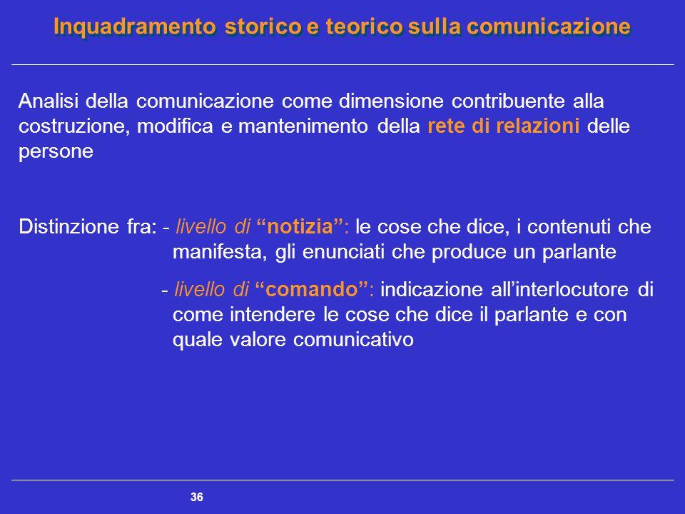 Inquadramento storico e teorico sulla comunicazione 36 Analisi della comunicazione come dimensione contribuente alla costruzione, modifica e mantenime