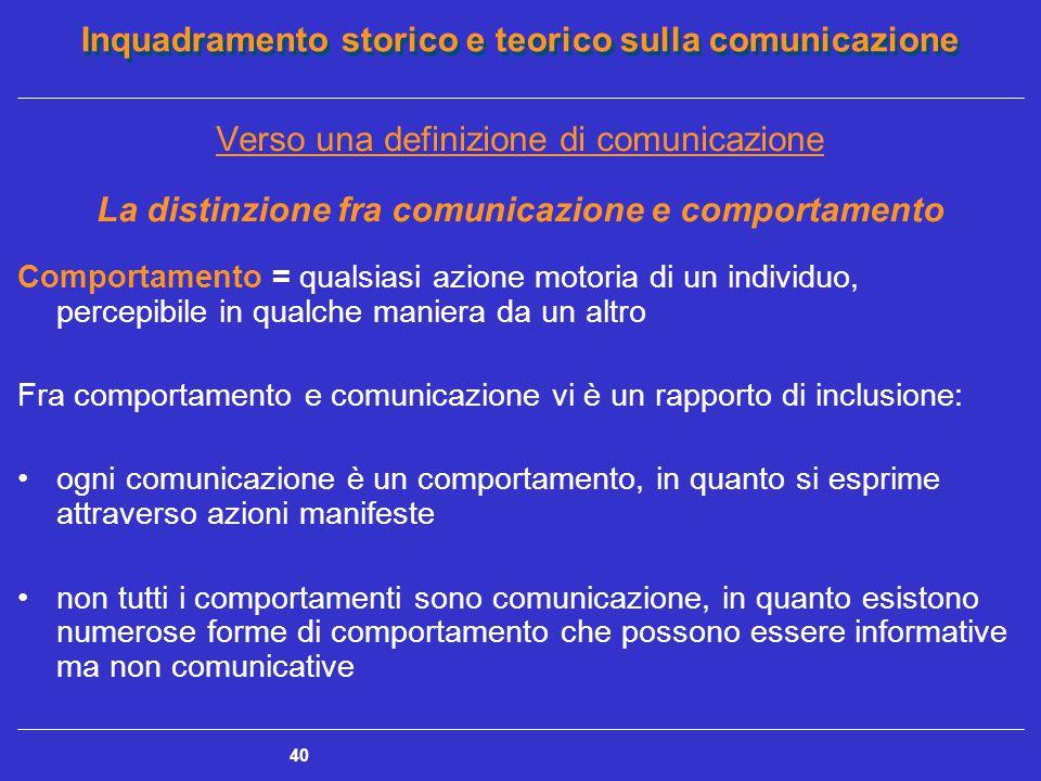 Inquadramento storico e teorico sulla comunicazione 40 Verso una definizione di comunicazione La distinzione fra comunicazione e comportamento Comport