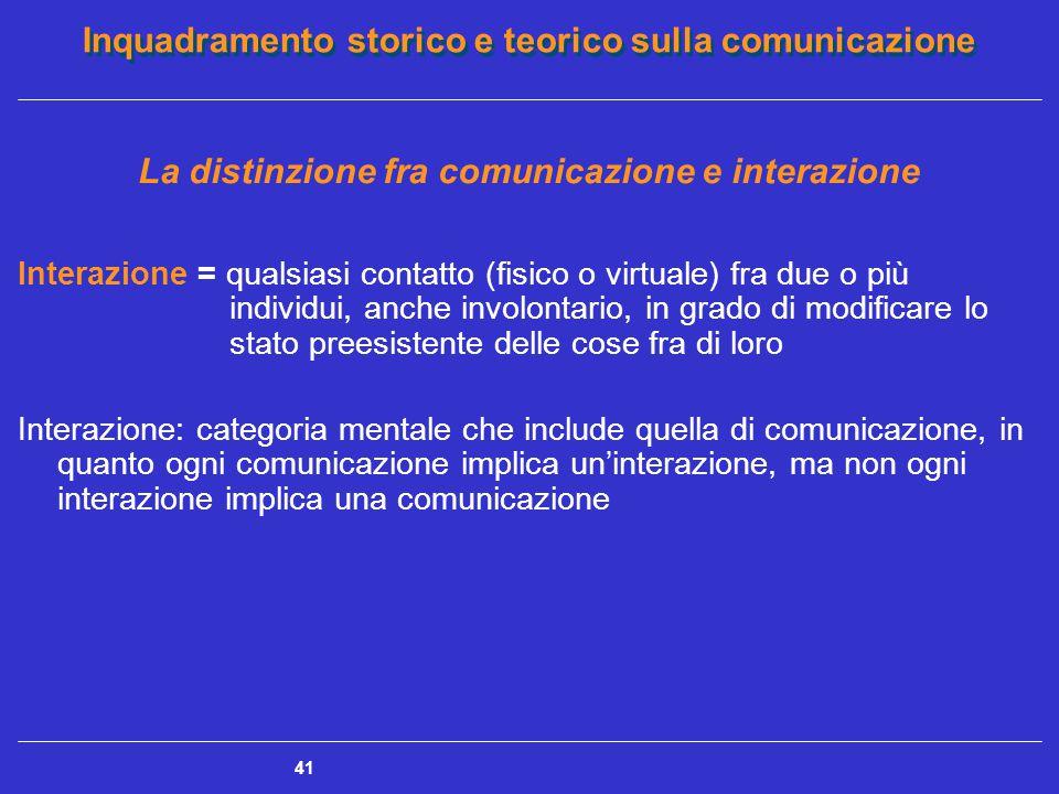 Inquadramento storico e teorico sulla comunicazione 41 La distinzione fra comunicazione e interazione Interazione = qualsiasi contatto (fisico o virtu