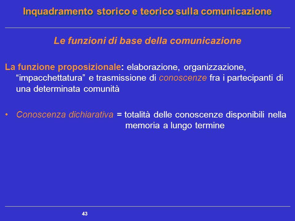Inquadramento storico e teorico sulla comunicazione 43 Le funzioni di base della comunicazione La funzione proposizionale: elaborazione, organizzazion