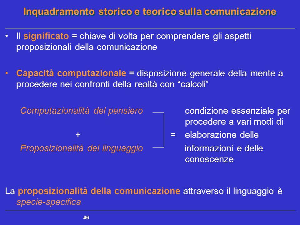 Inquadramento storico e teorico sulla comunicazione 46 Il significato = chiave di volta per comprendere gli aspetti proposizionali della comunicazione