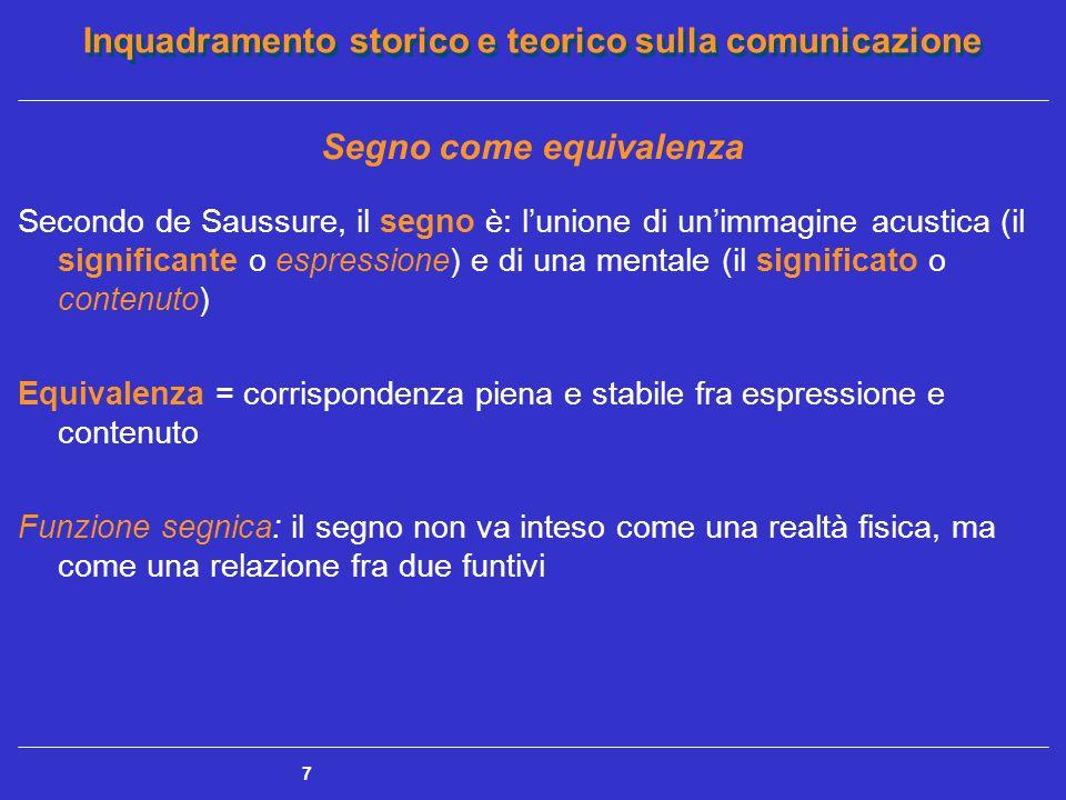 Inquadramento storico e teorico sulla comunicazione 7 Segno come equivalenza Secondo de Saussure, il segno è: l'unione di un'immagine acustica (il sig