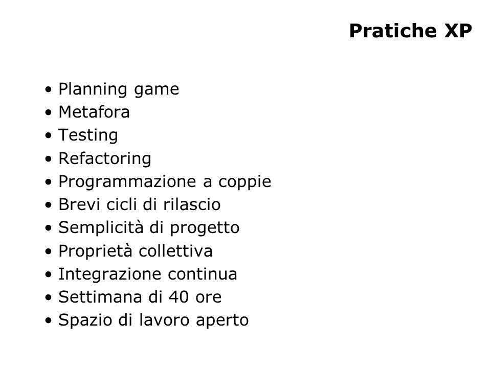 Pratiche XP Planning game Metafora Testing Refactoring Programmazione a coppie Brevi cicli di rilascio Semplicità di progetto Proprietà collettiva Integrazione continua Settimana di 40 ore Spazio di lavoro aperto
