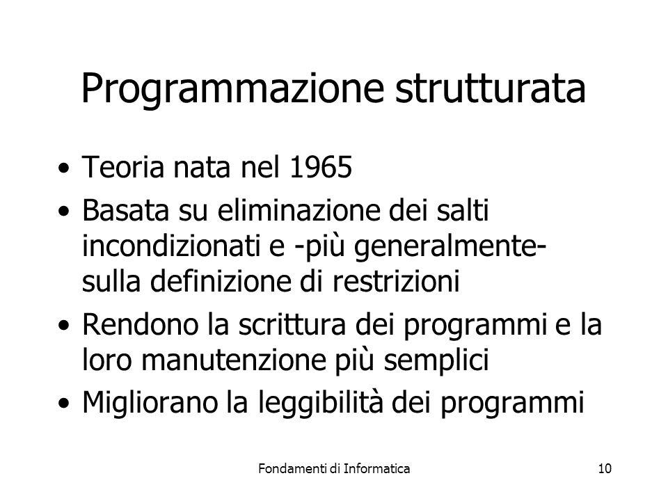 Fondamenti di Informatica10 Programmazione strutturata Teoria nata nel 1965 Basata su eliminazione dei salti incondizionati e -più generalmente- sulla